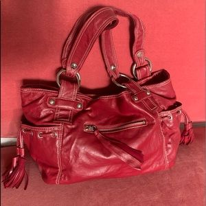 Slouchy Red Handbag with Pockets